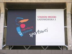 Tablica zakochaj się w Warszawie Sportowej na stadionie na Łazienkowskiej.JPG