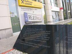 Prawa tablica Pomnik Ucieczki z Getta