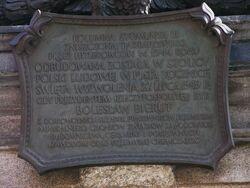 Tablica upamietniajaca odbudowe Kolumny Zygmunta 1949.JPG