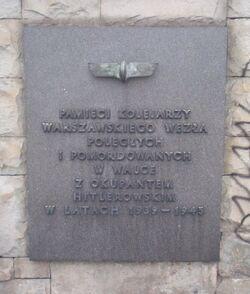 Tablica pamięci zamordowanych kolejarzy Dworzec centralny.JPG