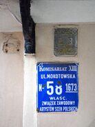 Przedwojenna tablica adresowa ul. Mokotowska 58