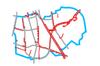 Schemat ścieżek rowerowych na Mokotowie