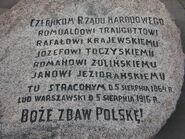 Napis na drugim kamieniu pamiatkowym w parku Traugutta