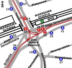Plac Zawiszy-rozmieszczenie