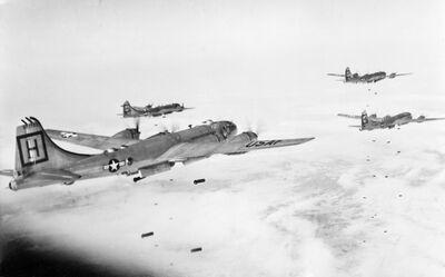 B-29s 98th BG(M) attacking target in Korea 1951