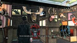 Aiden listening to a Talking Moose Head in The -Jedediah's Bar-