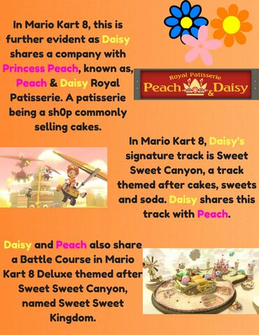 File:In Mario Kart 8, this is further evident as Daisy shares a company with Princess Peach, known as, Peach & Daisy Royal Patisserie. A patisserie being a sh0p, commonly selling cakes. (2).jpg