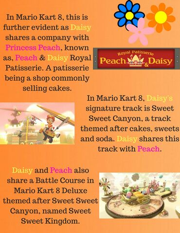 File:In Mario Kart 8, this is further evident as Daisy shares a company with Princess Peach, known as, Peach & Daisy Royal Patisserie. A patisserie being a sh0p, commonly selling cakes. (1).jpg