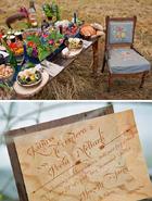 Hunger games wedding decor inspiration table feast wooden wedding invitation katniss everdeen peeta metlark