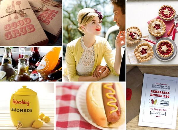 Picnic BBQ Wedding Inspiration Board Pie Hot Dog Mustard Ketchup Lemonade Soda Retro Red Yellow Bride Groom Plaid Vintage