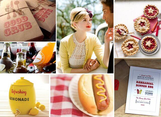 File:Picnic BBQ Wedding Inspiration Board Pie Hot Dog Mustard Ketchup Lemonade Soda Retro Red Yellow Bride Groom Plaid Vintage.jpg