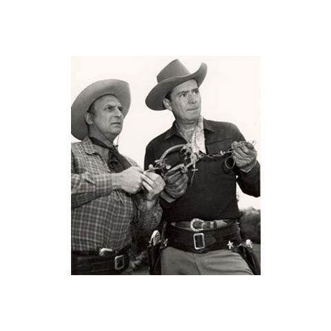Jackie Coogan (as Stoney Crockett) and Russell Hayden (as Pat Gallagher) in Cowboy G-Men