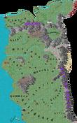 Mapa Cesarstwa Nilfgaardu na Mapie Orteliusa