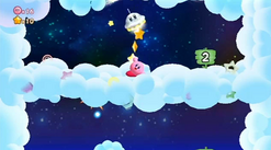 KRtDL UFO enemy giving Kirby stars as a reward