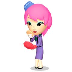 A female Mii using a beauty kit.