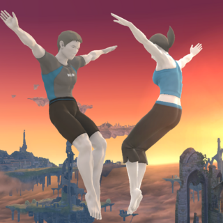 Screenshot of the male and female versions of the Wii Fit Trainer from <i><a href=