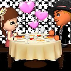 A male mii proposing to a female mii.