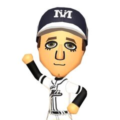 A male Mii dressed as a baseball player