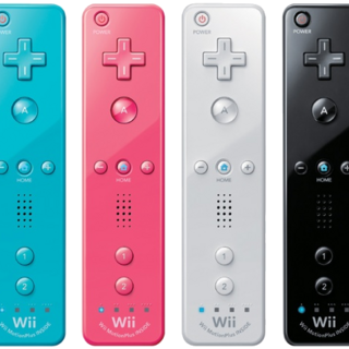 Cyan, pink, white, and black Wii Remotes.