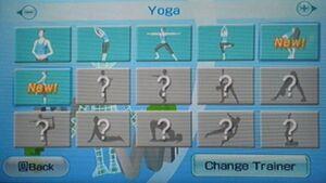 Wiifit yoga menu