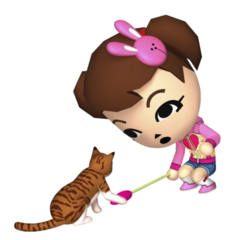 A mii playing with a cat.