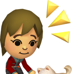 A mii playing with a dog.