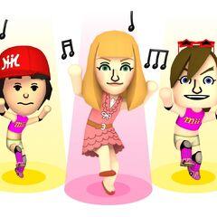 Three miis performing a Pop song.