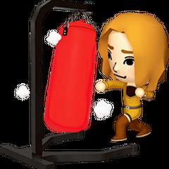A mii using a punching bag