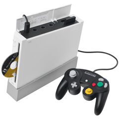 A Wii with a Gamecube Controller.