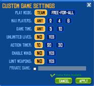 Custom Game Settings