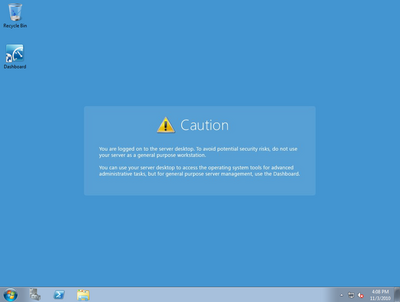 Windows Home Server 2 Desktop