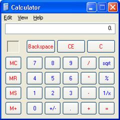 The Calculator as seen in Windows XP.