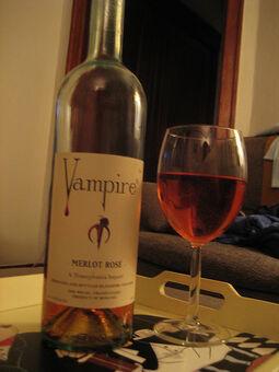 Vampire wine looking more like the Rose it is