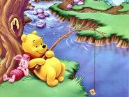 Pooh Wallpaper - Pooh Fishing, Piglet Resting
