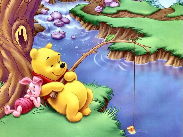 File:Pooh Wallpaper - Pooh Fishing, Piglet Resting.jpg