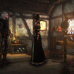 Síle talking to Geralt in room.