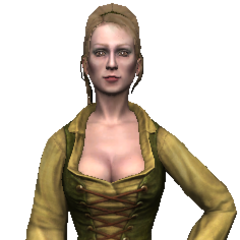Peasant girl in green and yellow.