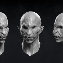 Digital model of monster face.