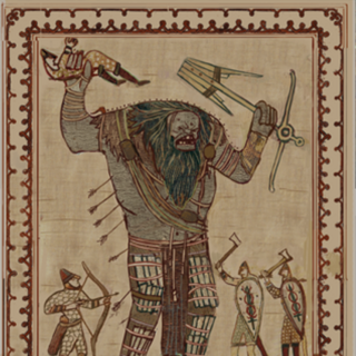 A tapestry in the Kaer Trolde.