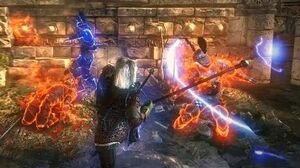 I'm the Firestarter! Geralt Fries Nilfgaardians with Uber Magic Staff (Witcher 2 Loc Muinne)