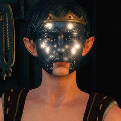 Eveline in mask with shape of Radovid V face