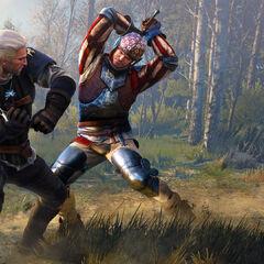 Geralt fighting three guardsmen on promo for <a href=
