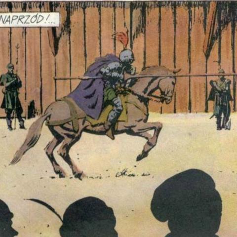 As he appears in full armor against Myrgot comics