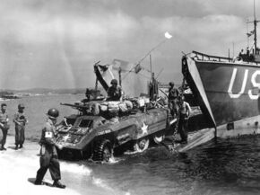An M8 Greyhound landing in Southern France, Operation Dragoon 1944