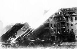 Soviet Katyushas firing in Berlin, 1945