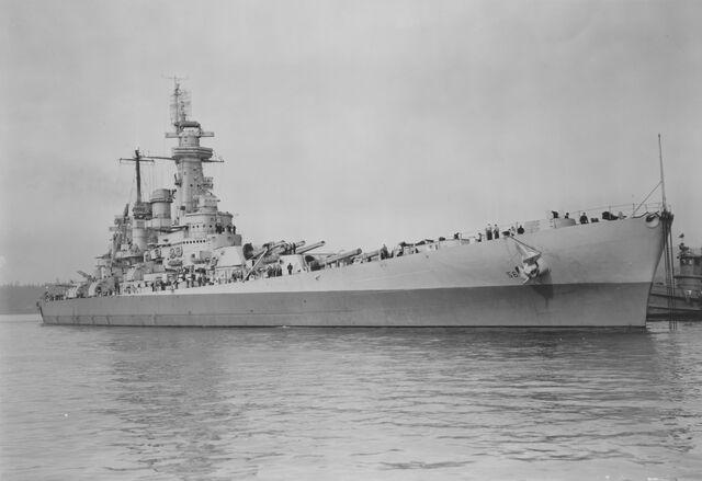File:USS Washington collision damage repaired NARA BS 63999.jpg