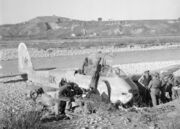 British troops inspect downed Me 410, Sangro River 1943