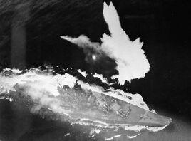 Battleship Yamato under air attack April 1945