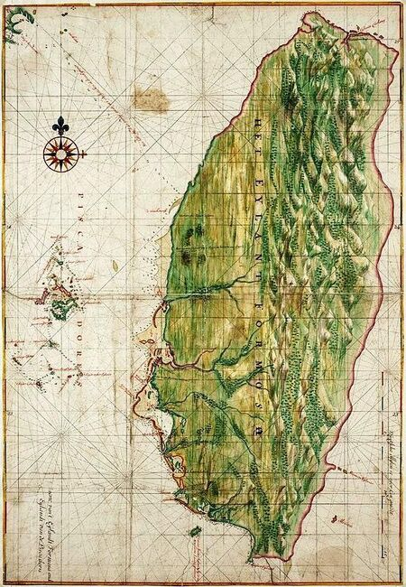 1640 Map of Formosa-Taiwan by Dutch rotate