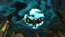 Illidan flying above Black Temple